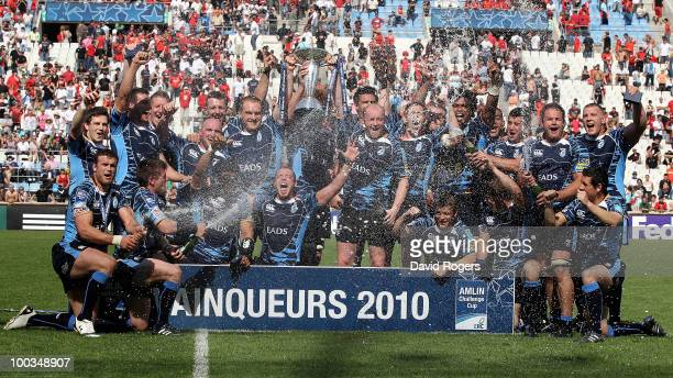 Cardiff celebrate their victory after the Amlin Challenge Cup Final between Toulon and Cardiff Blues at Stade Velodrome on May 23 2010 in Marseille...