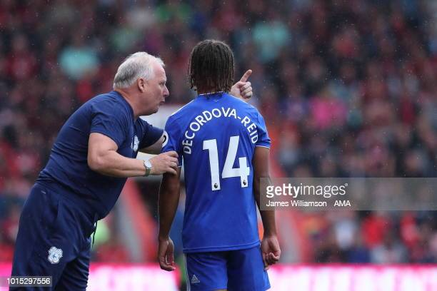Cardiff City assistant manager Kevin Blackwell giving advice to Bobby Reid of Cardiff City during the Premier League match between AFC Bournemouth...