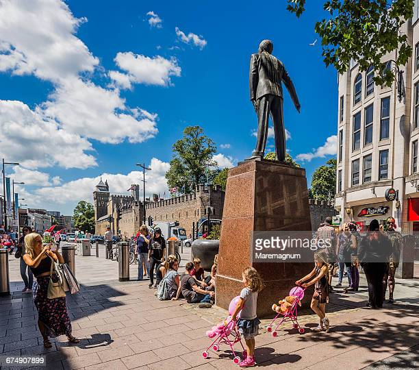 cardiff city centre, taking a photo - cardiff wales stock pictures, royalty-free photos & images
