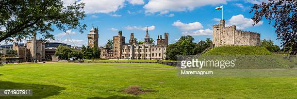 cardiff city centre, the cardiff castle - cardiff wales stock pictures, royalty-free photos & images