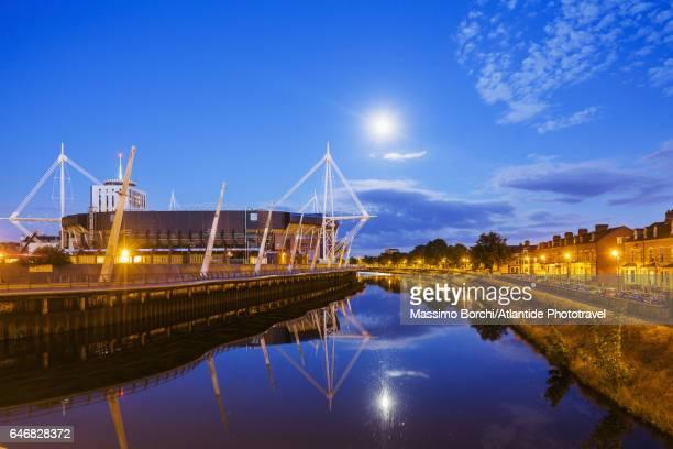 Cardiff City Centre, the Millennium Stadium and the river Taff