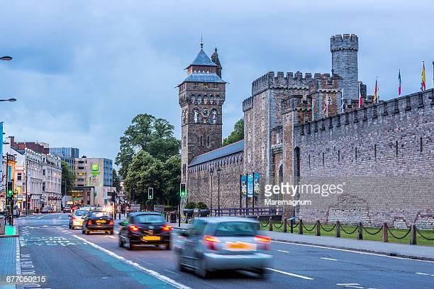 Cardiff City Centre, traffic near Cardiff Castle