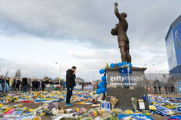 Cardiff City CEO Ken Choo visits tributes to Emiliano Sala at the Cardiff City Stadium on January 25 2019 in Cardiff Wales Emiliano Sala is one of...