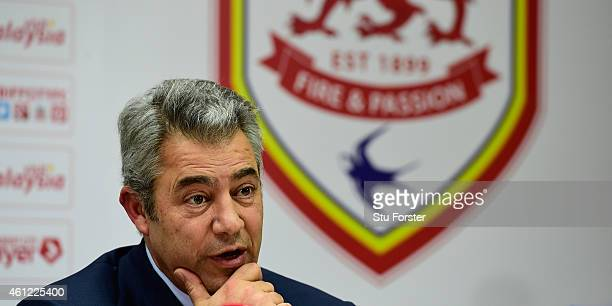 Cardiff City chairman Mehmet Dalman announces at a press conference that the club would revert to their original blue home kit from red starting from...