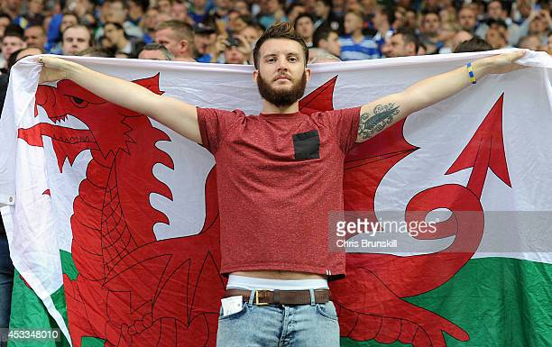 Cardiff City fan looks on during the Sky Bet Championship match between Blackburn Rovers and Cardiff City at Ewood Park on August 08 2014 in...