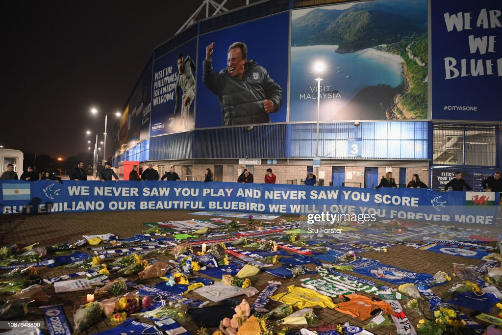 Tributes Are Made To Cardiff City's Missing Footballer As Search For Plane is Called Off : News Photo