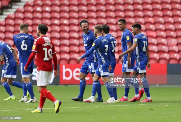 Cardiff City FC and Josh Murphy celebrating during the Sky Bet Championship match between Middlesbrough and Cardiff City at Riverside Stadium on July...