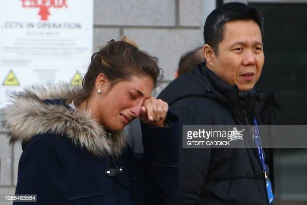 Cardiff City FC Executive Director and CEO Ken Choo walks with Romina Sala sister of Cardiff City's missing Argentinian footballer Emiliano Sala...