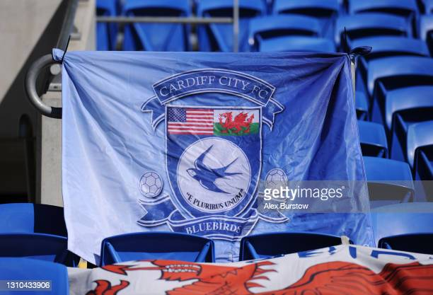 Cardiff City FC flag is seen displayed inside the stadium prior to the Sky Bet Championship match between Cardiff City and Nottingham Forest at...