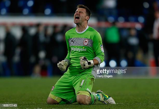 Cardiff City goalkeeper David Marshall celebrates his team's equaliser during the npower Championship match between Cardiff City and Leicester City...