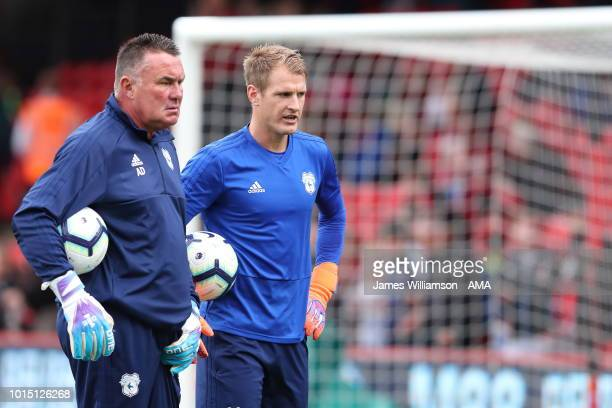 Cardiff City goalkeeping coach Andy Dibble and Alex Smithies of Cardiff City during the Premier League match between AFC Bournemouth and Cardiff City...