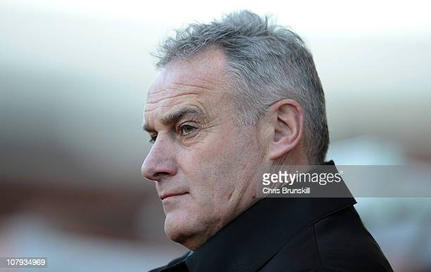 Cardiff City manager David Jones looks on during the FA Cup Sponsored by EON 3rd Round match between Stoke City and Cardiff City at Britannia Stadium...