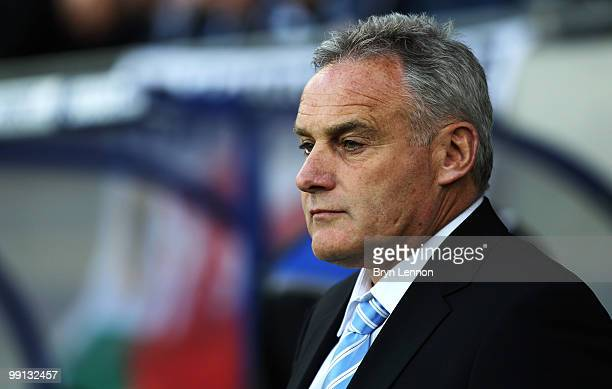 Cardiff City Manager David Jones looks on prior to the CocaCola Championship Playoff Semi Final 2nd Leg match between Cardiff City and Leicester City...