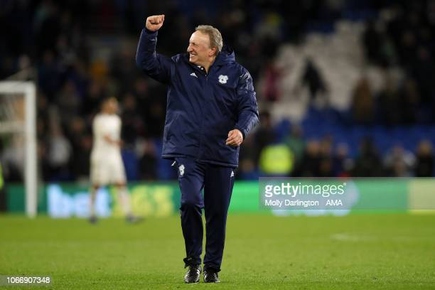 Cardiff City manager head coach Neil Warnock celebrates at full time after the Premier League match between Cardiff City and Wolverhampton Wanderers...