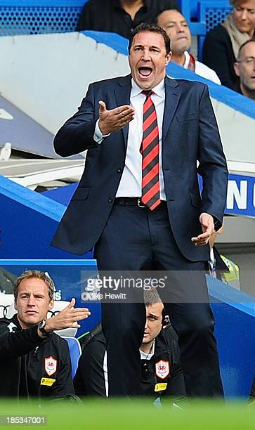 Cardiff City manager Malky Mackay gestures on the sidelines during the Barclays Premier League match between Chelsea and Cardiff City at Stamford...