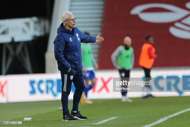 Cardiff City manager Mick McCarthy during the Sky Bet Championship match between Middlesbrough and Cardiff City at the Riverside Stadium,...