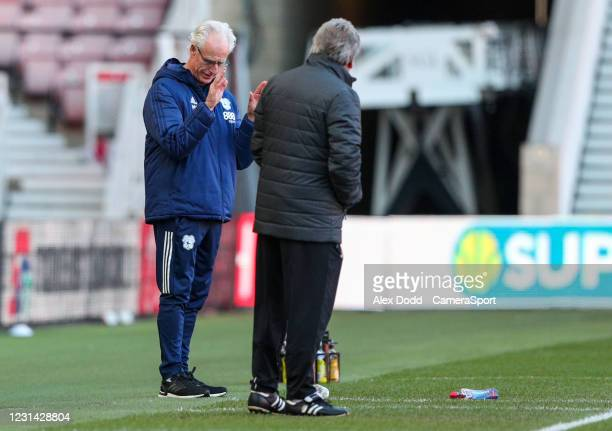 Cardiff City manager Mick McCarthy shares a joke with Middlesbrough manager Neil Warnock during the Sky Bet Championship match between Middlesbrough...