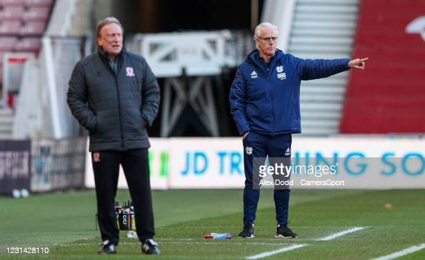 Cardiff City manager Mick McCarthy shouts instructions to his team from the technical area during the Sky Bet Championship match between...