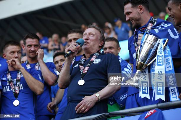 Cardiff City manager Neil Warnock addresses the fans during the Sky Bet Championship match between Cardiff City and Reading at Cardiff City Stadium...
