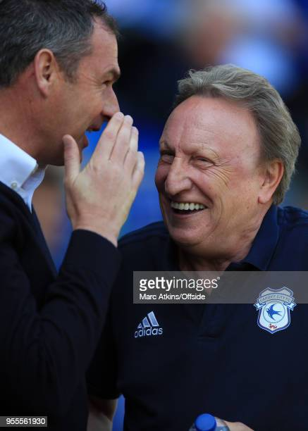 Cardiff City manager Neil Warnock alongside Paul Clement manager of Reading during the Sky Bet Championship match between Cardiff City and Reading at...