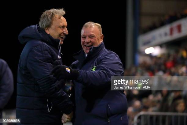 Cardiff City Manager Neil Warnock and Mansfield Town manager Steve Evans during the The Emirates FA Cup Third Round Replay between Mansfield Town and...