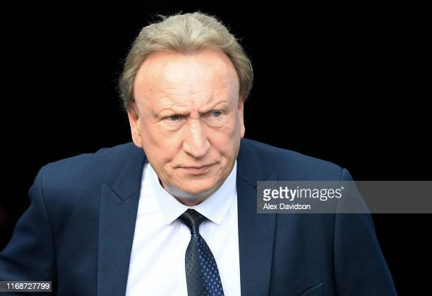 Cardiff City manager Neil Warnock arrives during the Sky Bet Championship match between Reading and Cardiff City at Madejski Stadium on August 18,...