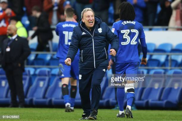 Cardiff City manager Neil Warnock celebrates after the final whistle of the Sky Bet Championship match between Cardiff City and Middlesbrough at the...