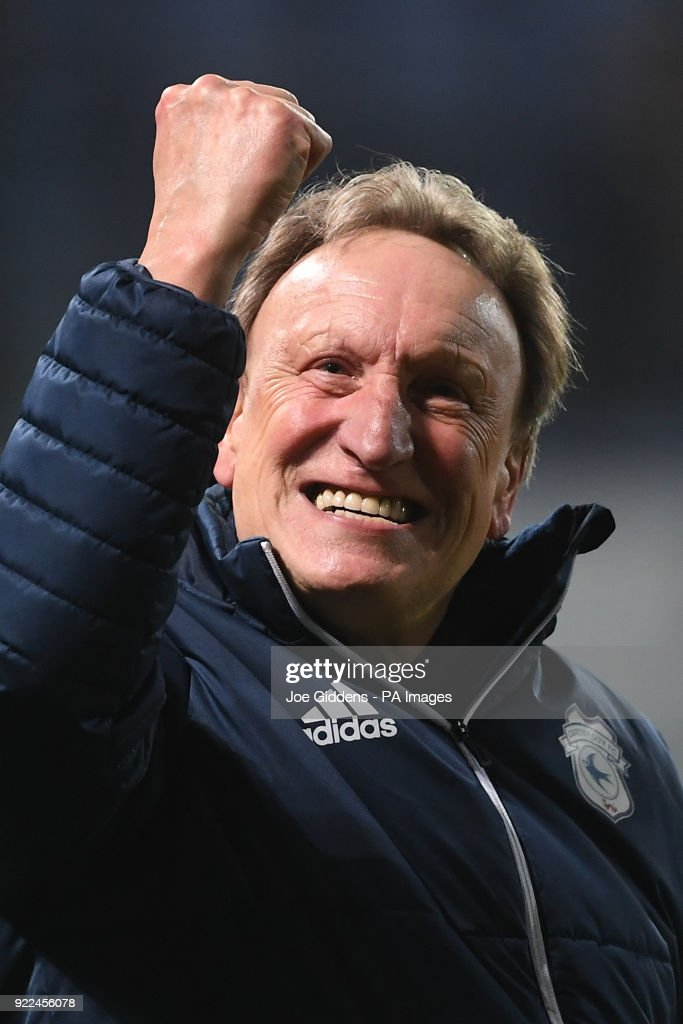 Cardiff City manager Neil Warnock celebrates victory after the Sky Bet Championship match at Portman Road, Ipswich.