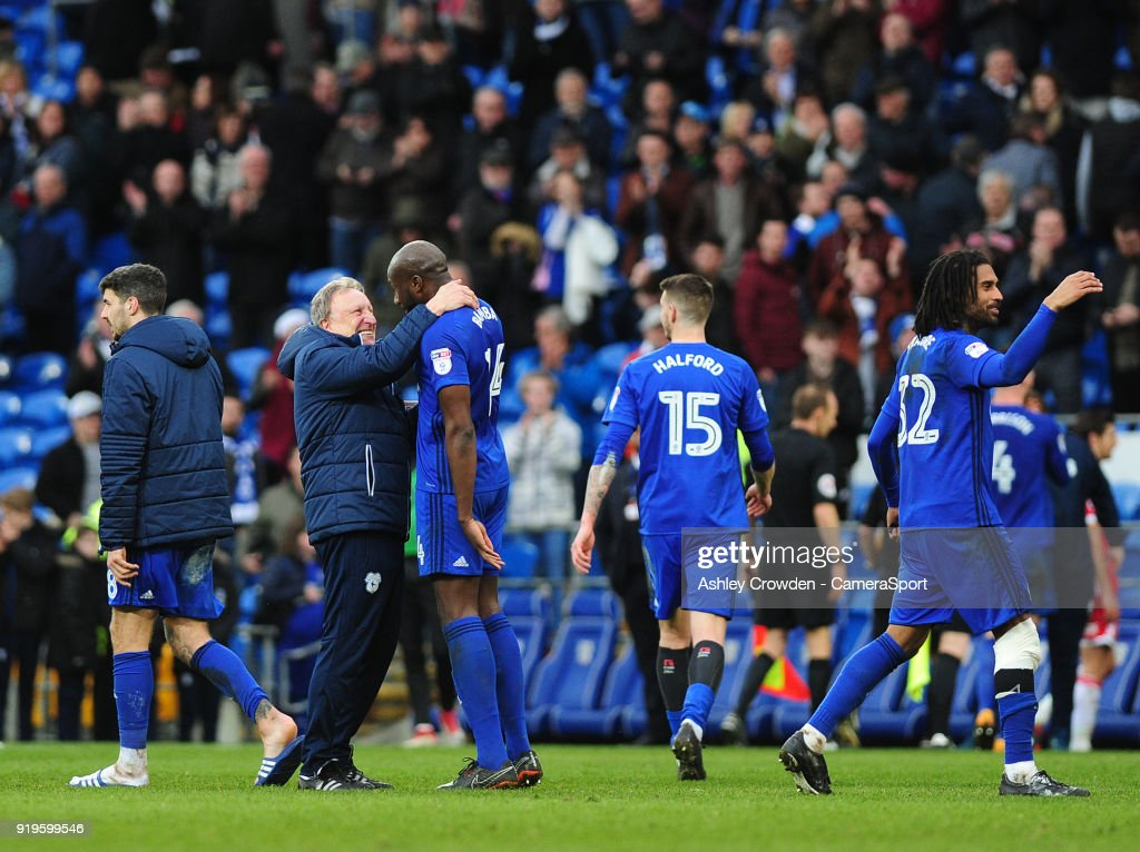 Cardiff City manager Neil Warnock celebrates with Cardiff City's Souleymane Bamba at full time during the Sky Bet Championship match between Cardiff City and Middlesbrough at Cardiff City Stadium on February 17, 2018 in Cardiff, Wales.