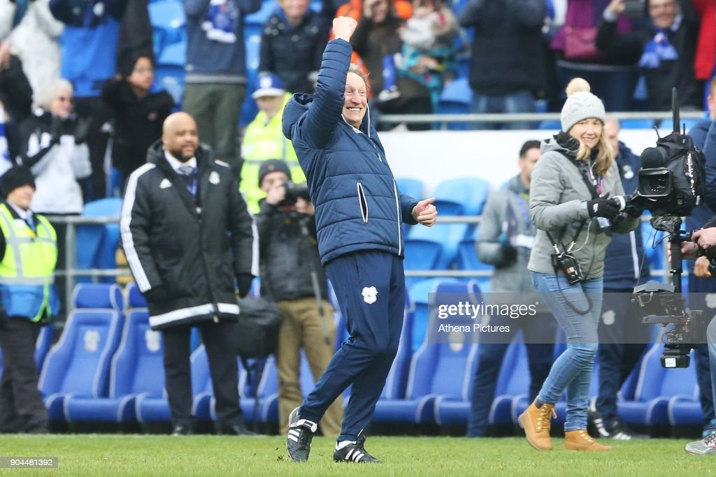 Cardiff City manager Neil Warnock celebrates with his air punch after the final whistle of the Sky Bet Championship match between Cardiff City and Sunderland at the Cardiff City Stadium on January 13, 2018 in Cardiff, Wales.