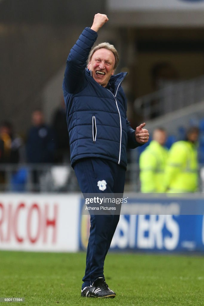Cardiff City manager Neil Warnock celebrates with the fans after the final whistle of the Sky Bet Championship match between Cardiff City and Birmingham City at the Cardiff City Stadium on March 10, 2018 in Cardiff, Wales.