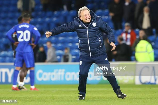 Cardiff City manager Neil Warnock competes his traditional post match air punch with the fans after the final whistle of the Sky Bet Championship...