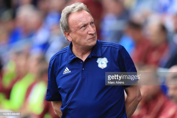 Cardiff City manager Neil Warnock during the Premier League match between Cardiff City and Arsenal FC at Cardiff City Stadium on September 2 2018 in...