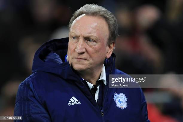 Cardiff City manager Neil Warnock during the Premier League match between Cardiff City and Manchester United at Cardiff City Stadium on December 22...