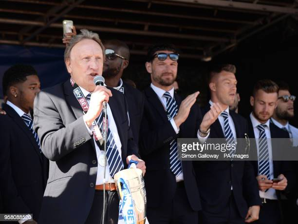 Cardiff City manager Neil Warnock during the promotion parade at Cardiff Castle Cardiff