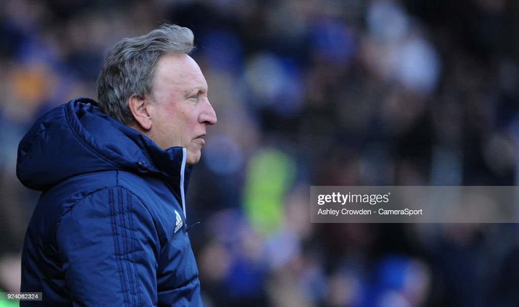 Cardiff City manager Neil Warnock during the Sky Bet Championship match between Cardiff City and Bristol City at Cardiff City Stadium on February 25, 2018 in Cardiff, Wales.