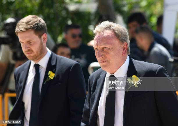 Cardiff City Manager Neil Warnock gestures after talking to press members during a vigil at Sala's boyhood club San Martin de Progreso on February 16...
