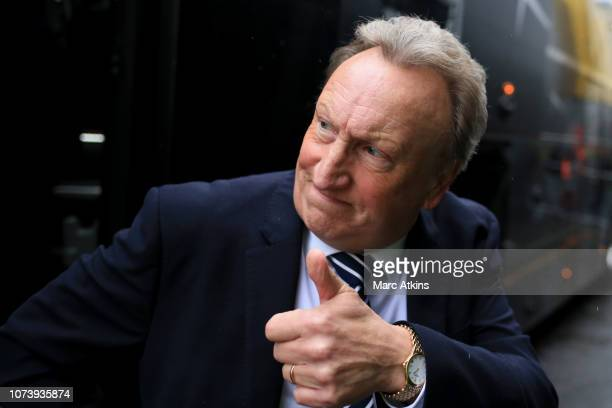 Cardiff City manager Neil Warnock gives a thumbs up prior to the Premier League match between Watford FC and Cardiff City at Vicarage Road on...