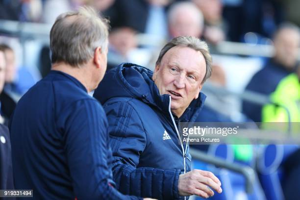 Cardiff City manager Neil Warnock prior to kick off of the Sky Bet Championship match between Cardiff City and Middlesbrough at the Cardiff City...