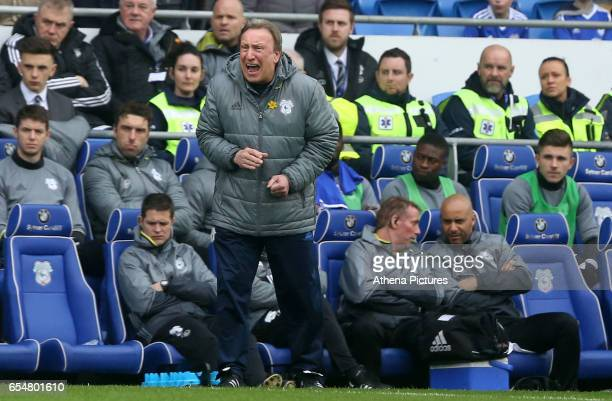 Cardiff City Manager Neil Warnock screams instruction to his side during the Sky Bet Championship match between Cardiff City and Ipswich Town at The...