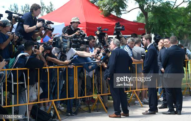 Cardiff City Manager Neil Warnock talks to press members during a vigil at Sala's boyhood club San Martin de Progreso on February 16 2019 in Progreso...