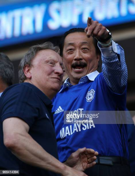 Cardiff City manager Neil Warnock with club owner Vincent Tan during the Sky Bet Championship match between Cardiff City and Reading at Cardiff City...