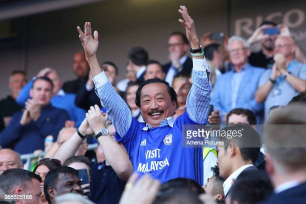 Cardiff City owner Vincent Tan celebrates after the final whistle as Cardiff are automatically promoted to the Premier League during the Sky Bet...