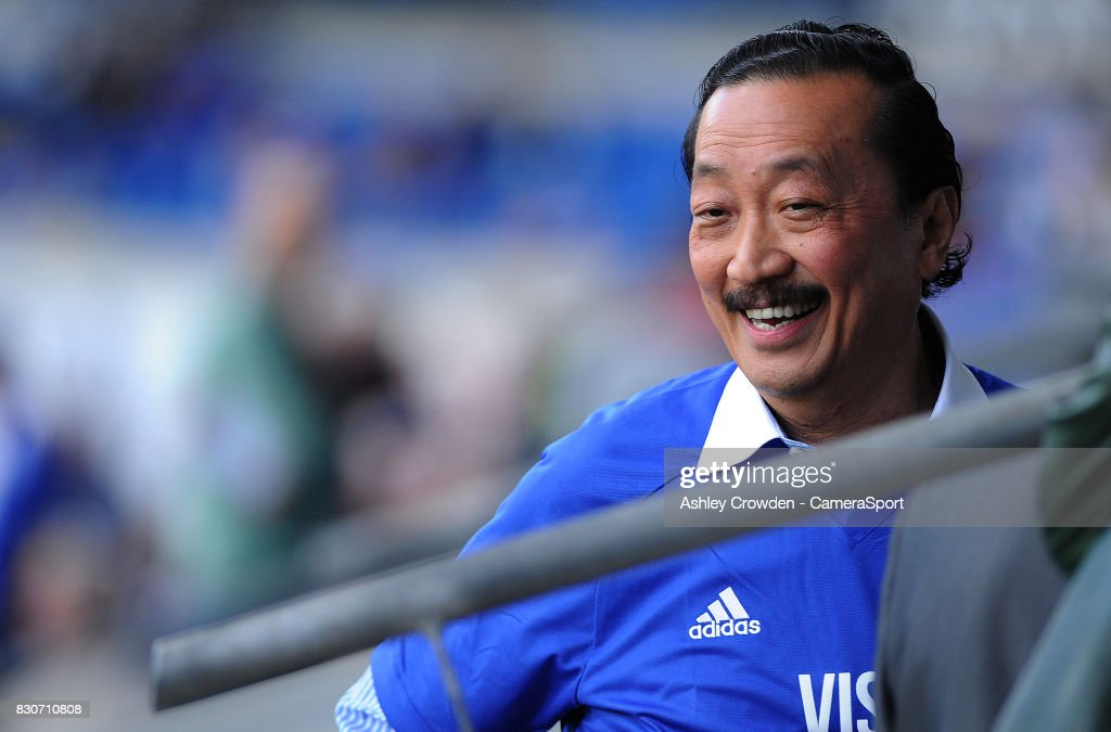 Cardiff City owner Vincent Tan prior to kick off during the Sky Bet Championship match between Cardiff City and Aston Villa at Cardiff City Stadium on August 12, 2017 in Cardiff, Wales.