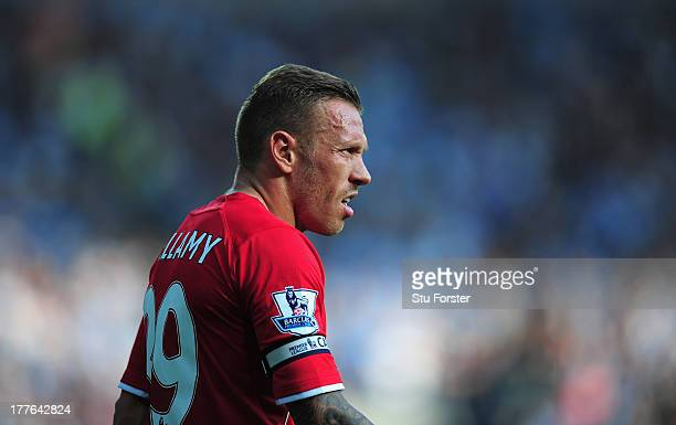 Cardiff City player Craig Bellamy in action during the Barclays Premier League match between Cardiff City and Manchester City at Cardiff City Stadium...