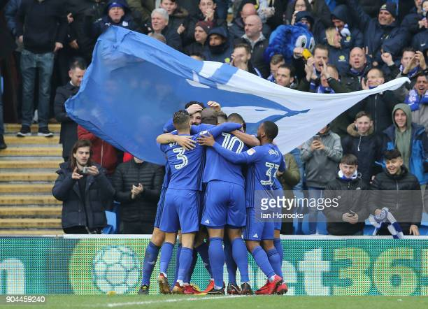 Cardiff City players celebrate the first goal scored by Callum Paterson during the Sky Bet Championship match between Cardiff City and Sunderland at...