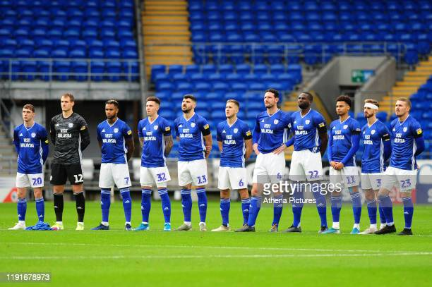 Cardiff City players line up prior to kick off for the FA Cup third round match between Cardiff City and Carlisle United at the Cardiff City Stadium...