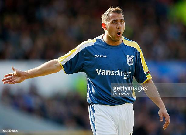 Cardiff City striker Michael Chopra protests during the Coca Cola Championship match between Cardiff City and Sheffield United at Ninian Park on...