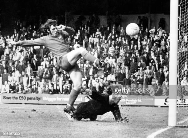Cardiff City v FC Schalke 04 pre season friendly at Ninian Park 4th August 1971 John Parsons Cardiff City Football Player 1968 1973 taps the ball...