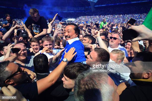 Cardiff City v Reading Cardiff City owner Vincent Tan is carried off by fans during the celebrations during the Sky Bet Championship match between...